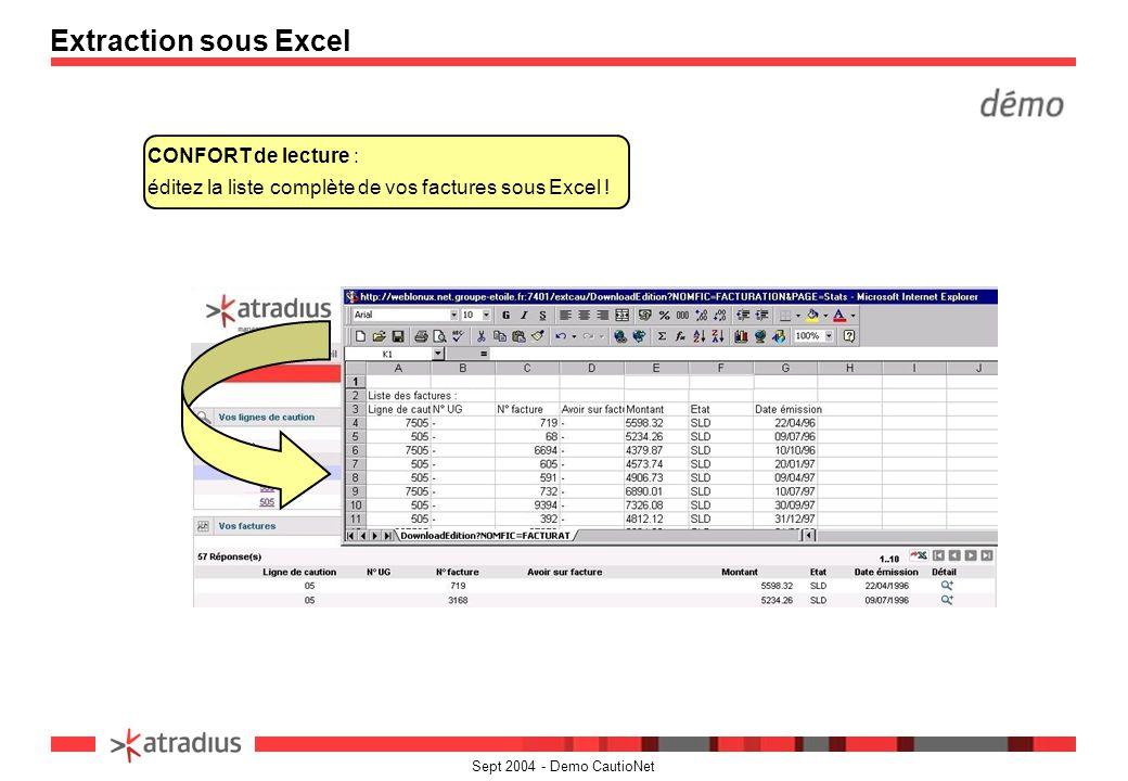 Sept 2004 - Demo CautioNet CONFORT de lecture : éditez la liste complète de vos factures sous Excel ! Extraction sous Excel