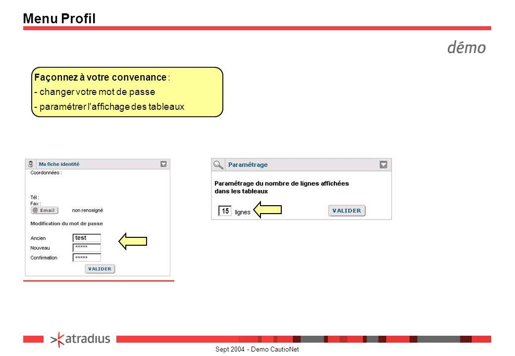 Sept 2004 - Demo CautioNet Façonnez à votre convenance : - changer votre mot de passe - paramétrer l'affichage des tableaux Menu Profil 15 test *****