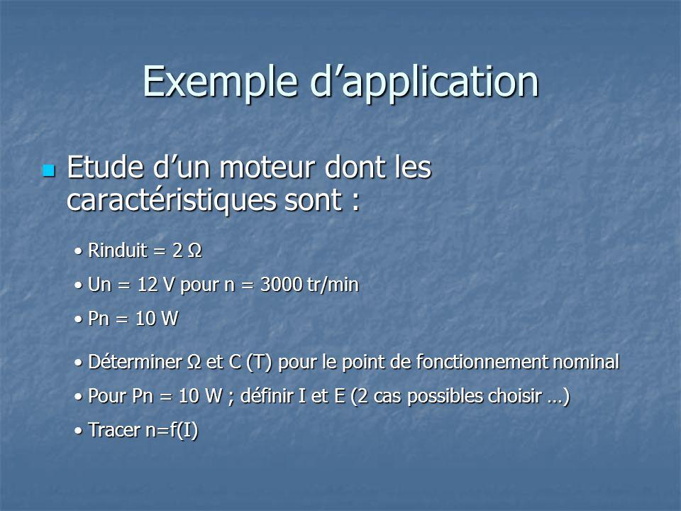 Exemple dapplication Etude dun moteur dont les caractéristiques sont : Etude dun moteur dont les caractéristiques sont : Rinduit = 2 Ω Rinduit = 2 Ω Un = 12 V pour n = 3000 tr/min Un = 12 V pour n = 3000 tr/min Pn = 10 W Pn = 10 W Déterminer Ω et C (T) pour le point de fonctionnement nominal Déterminer Ω et C (T) pour le point de fonctionnement nominal Pour Pn = 10 W ; définir I et E (2 cas possibles choisir …) Pour Pn = 10 W ; définir I et E (2 cas possibles choisir …) Tracer n=f(I) Tracer n=f(I)