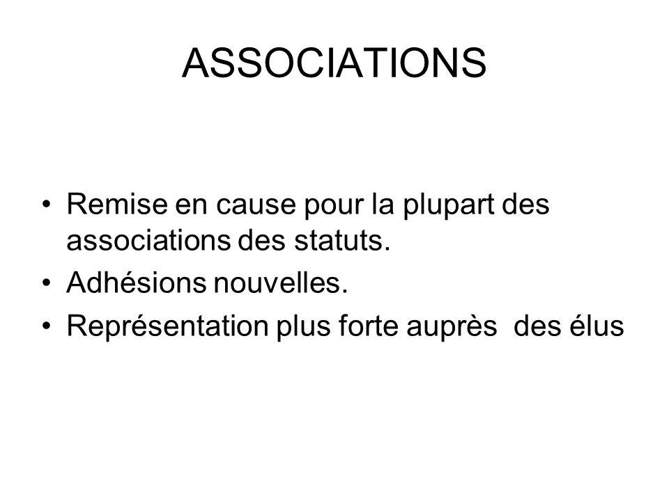 ASSOCIATIONS Remise en cause pour la plupart des associations des statuts.