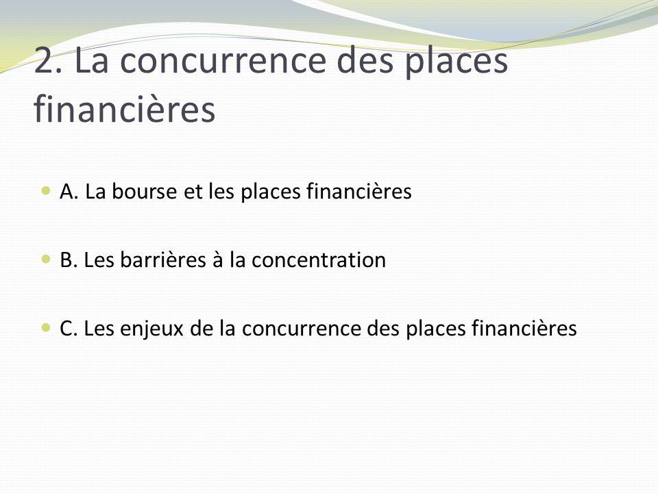 2. La concurrence des places financières A. La bourse et les places financières B.
