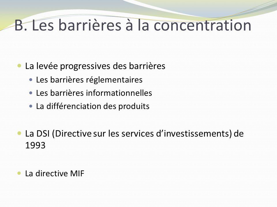 B. Les barrières à la concentration La levée progressives des barrières Les barrières réglementaires Les barrières informationnelles La différenciatio