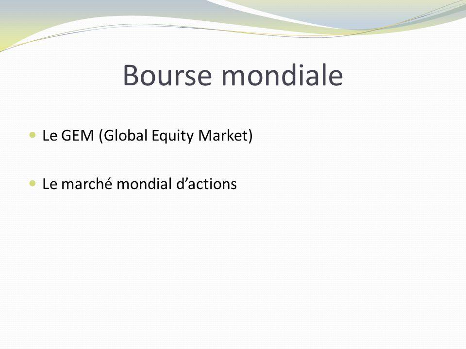 Bourse mondiale Le GEM (Global Equity Market) Le marché mondial dactions