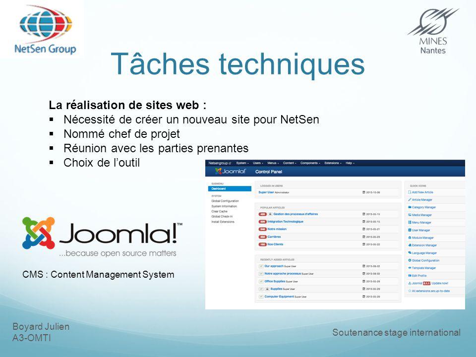 Boyard Julien A3-OMTI Soutenance stage international Tâches techniques La réalisation de sites web : Nécessité de créer un nouveau site pour NetSen Nommé chef de projet Réunion avec les parties prenantes Choix de loutil CMS : Content Management System