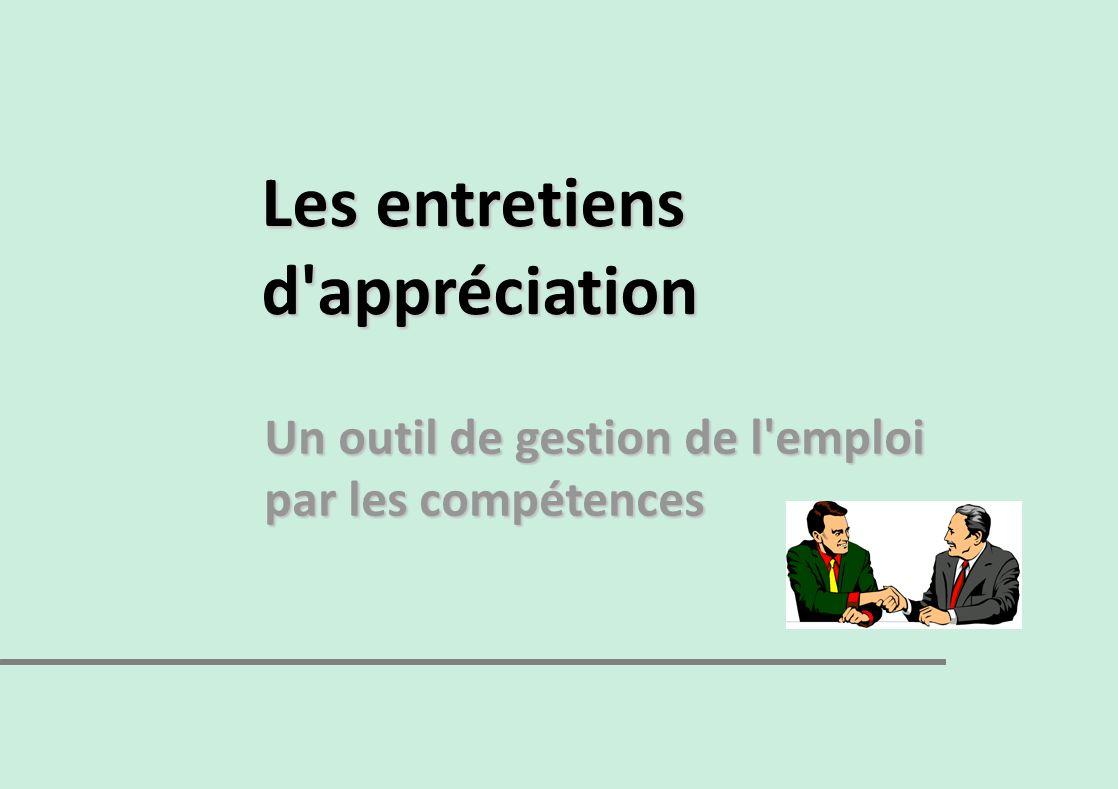 Les entretiens d'appréciation Un outil de gestion de l'emploi par les compétences