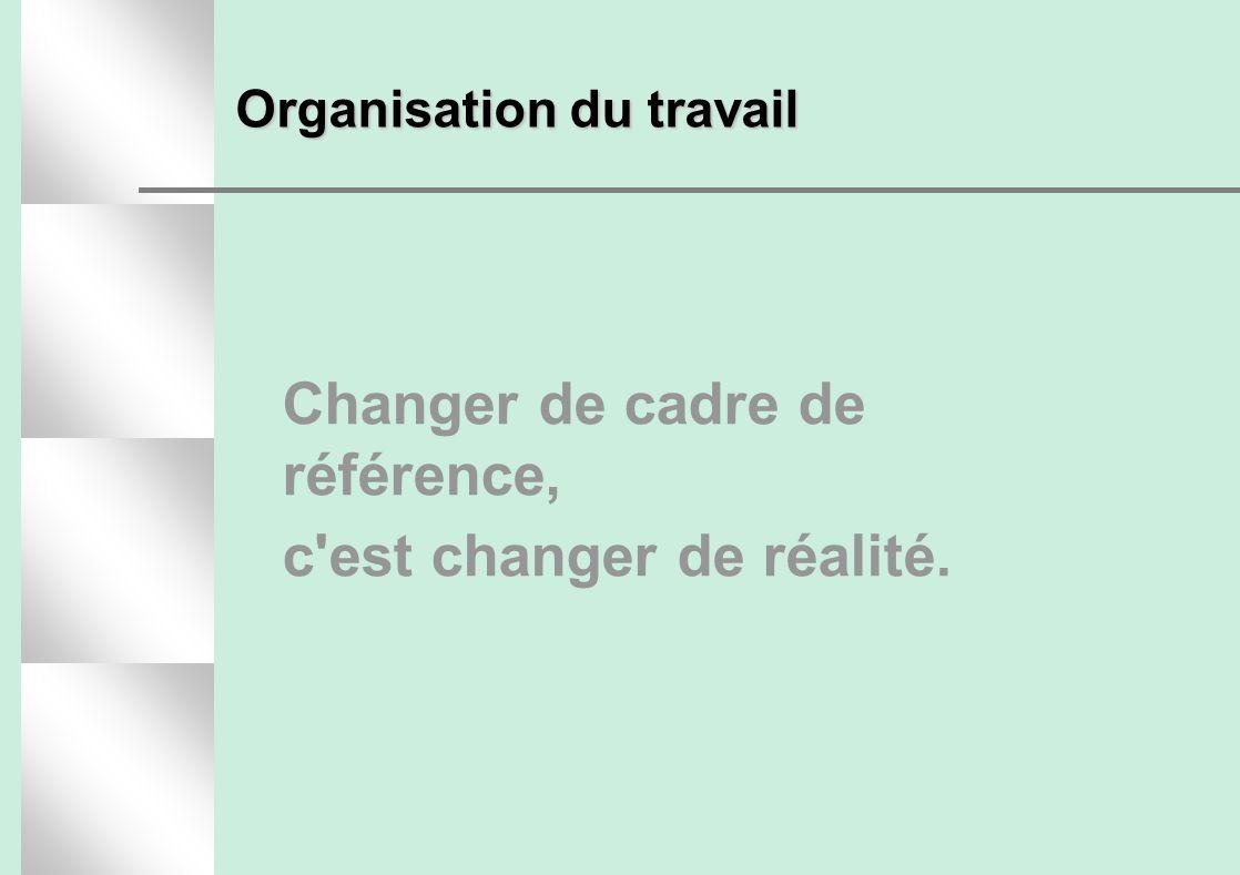 Organisation du travail Changer de cadre de référence, c'est changer de réalité.