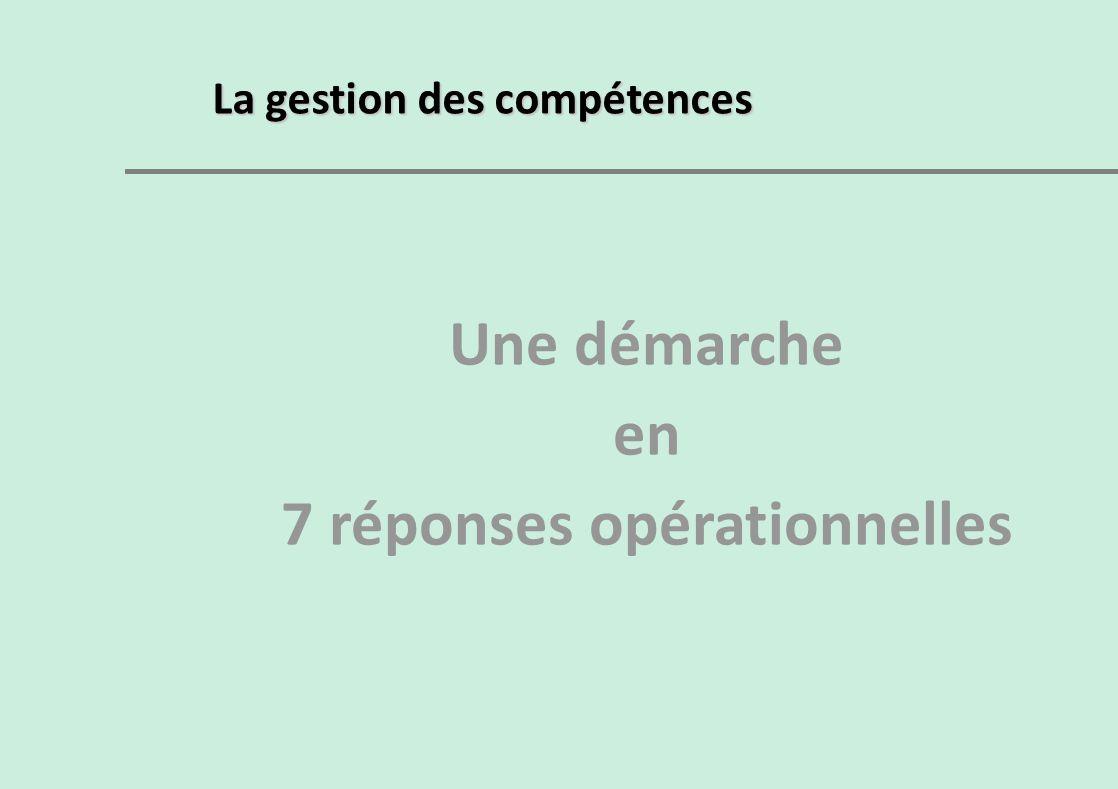 La gestion des compétences Une démarche en 7 réponses opérationnelles