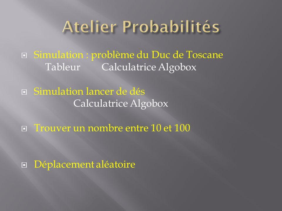 Simulation : problème du Duc de Toscane TableurCalculatriceAlgobox Simulation lancer de dés Calculatrice Algobox Trouver un nombre entre 10 et 100 Déplacement aléatoire