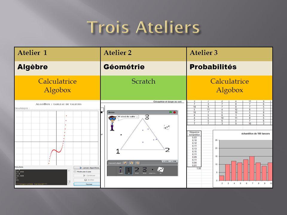 Atelier 1Atelier 2Atelier 3 AlgèbreGéométrieProbabilités Calculatrice Algobox ScratchCalculatrice Algobox