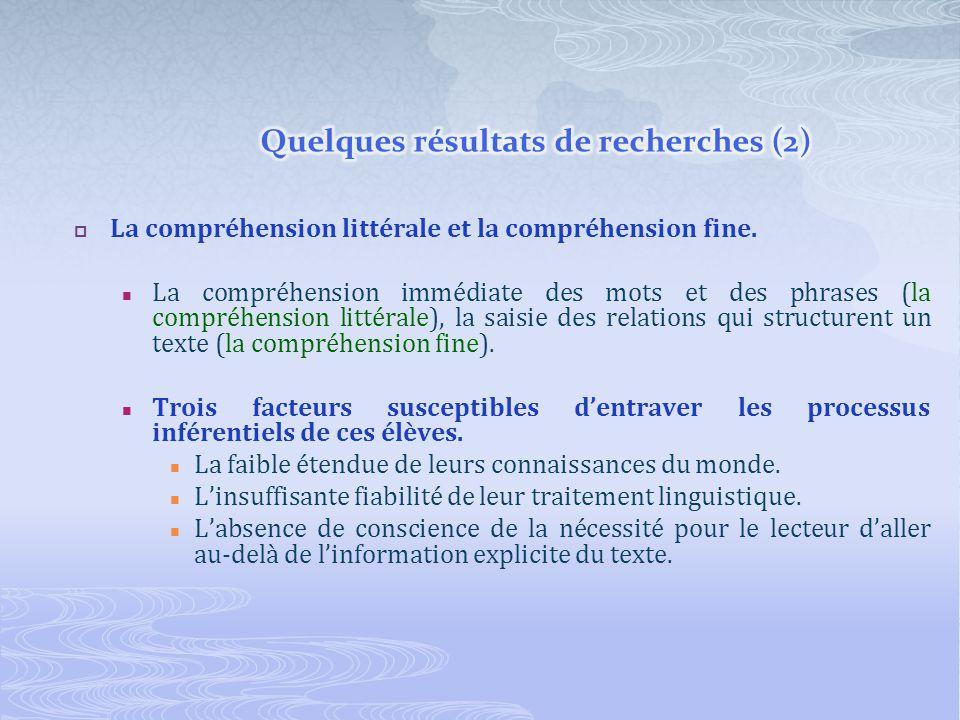 La compréhension littérale et la compréhension fine. La compréhension immédiate des mots et des phrases (la compréhension littérale), la saisie des re