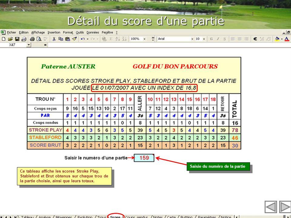 Les graphiques du jeu sur chaque trou DriveScore répertorie les graphiques des scores réalisés sur chaque trou. Ceci peut savérer très pratique pour c