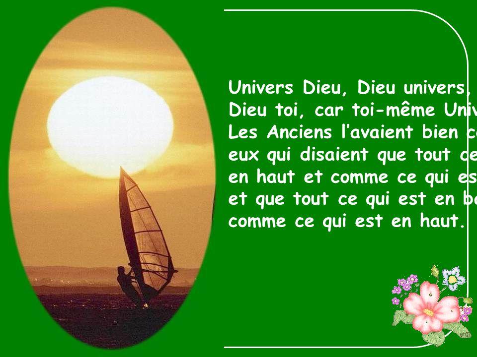 Univers Dieu, Dieu univers, Dieu toi, car toi-même Univers.