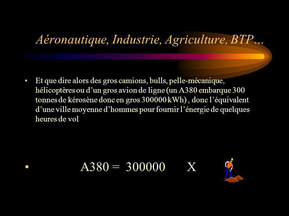 Aéronautique, Industrie, Agriculture, BTP… Et que dire alors des gros camions, bulls, pelle-mécanique, hélicoptères ou dun gros avion de ligne (un A38