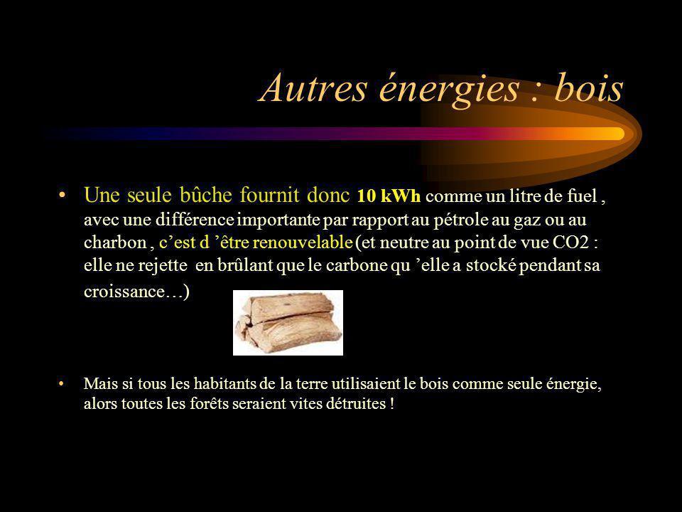 Autres énergies : bois Une seule bûche fournit donc 10 kWh comme un litre de fuel, avec une différence importante par rapport au pétrole au gaz ou au
