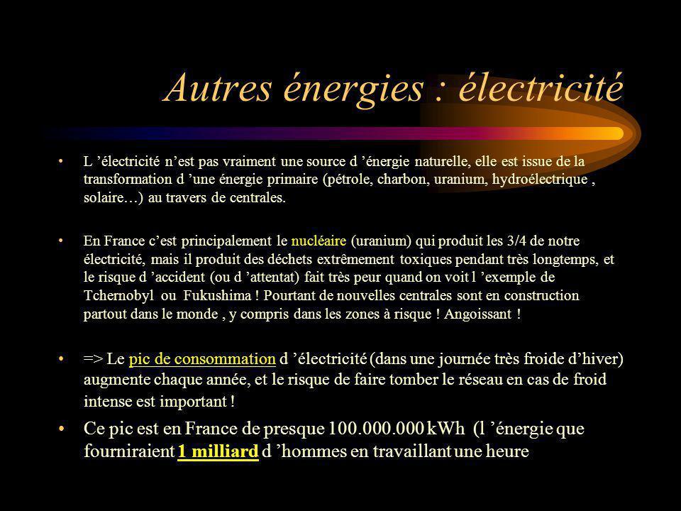 Autres énergies : électricité L électricité nest pas vraiment une source d énergie naturelle, elle est issue de la transformation d une énergie primai