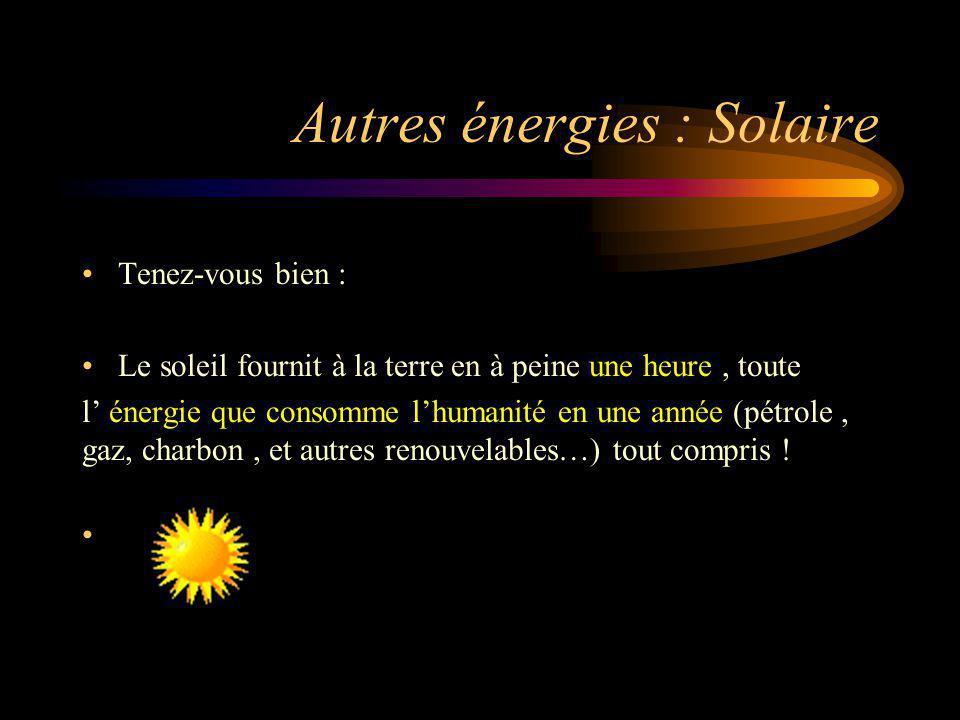 Autres énergies : Solaire Tenez-vous bien : Le soleil fournit à la terre en à peine une heure, toute l énergie que consomme lhumanité en une année (pé