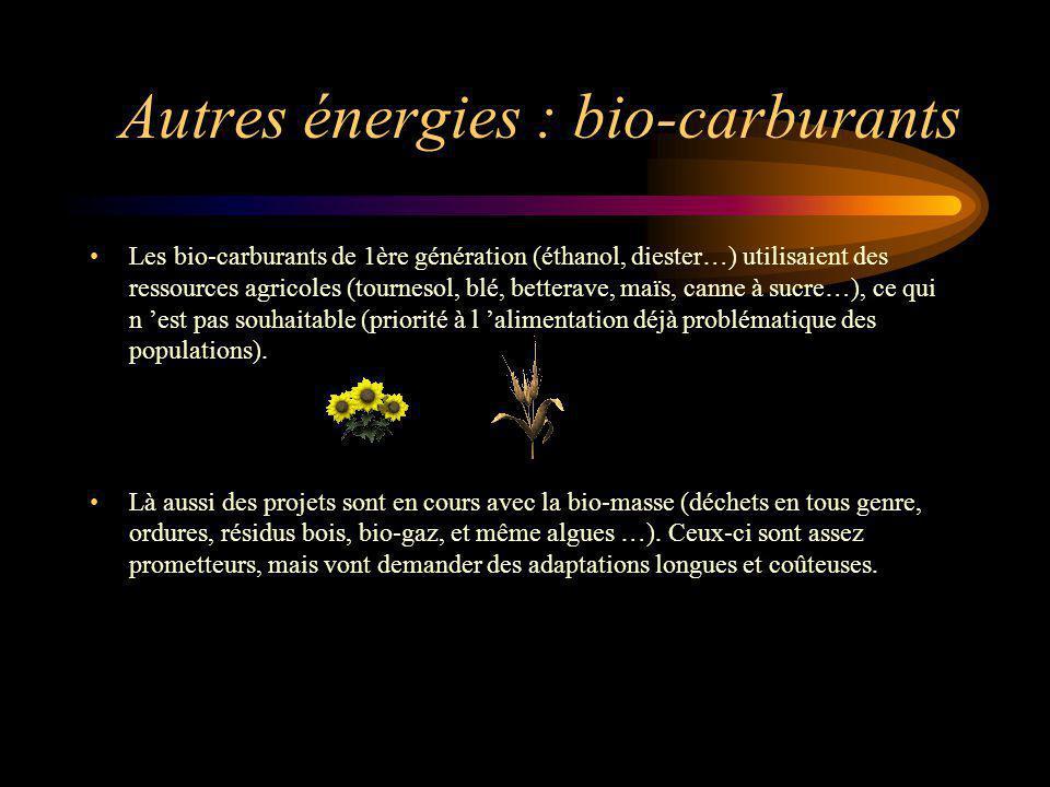 Autres énergies : bio-carburants Les bio-carburants de 1ère génération (éthanol, diester…) utilisaient des ressources agricoles (tournesol, blé, bette