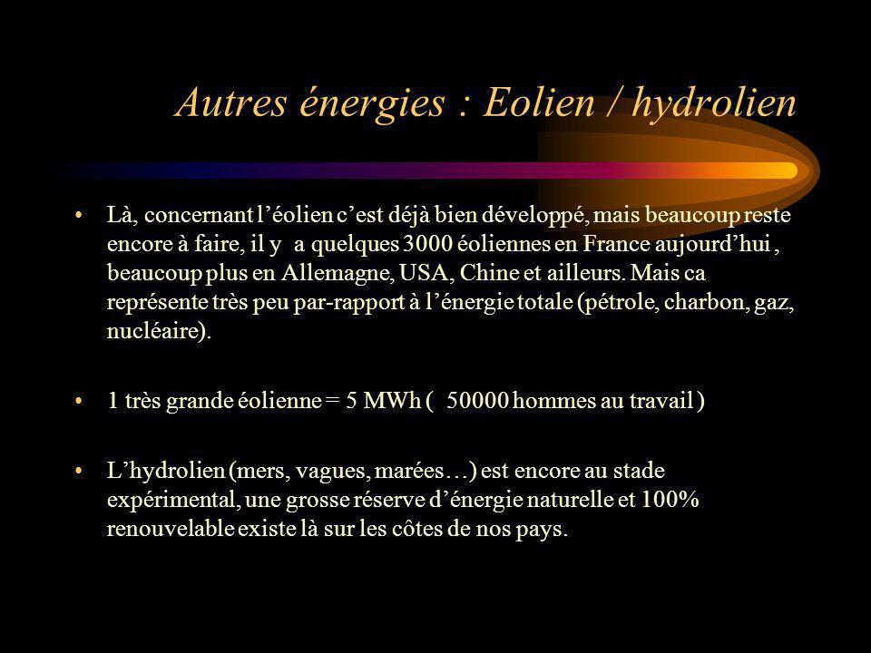 Autres énergies : Eolien / hydrolien Là, concernant léolien cest déjà bien développé, mais beaucoup reste encore à faire, il y a quelques 3000 éolienn