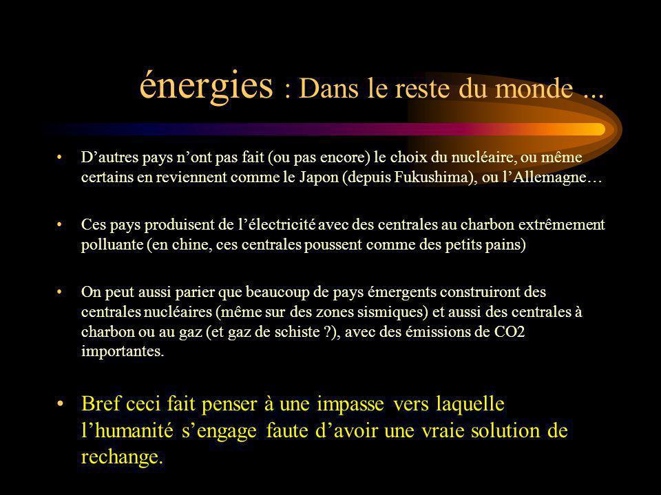 énergies : Dans le reste du monde... Dautres pays nont pas fait (ou pas encore) le choix du nucléaire, ou même certains en reviennent comme le Japon (