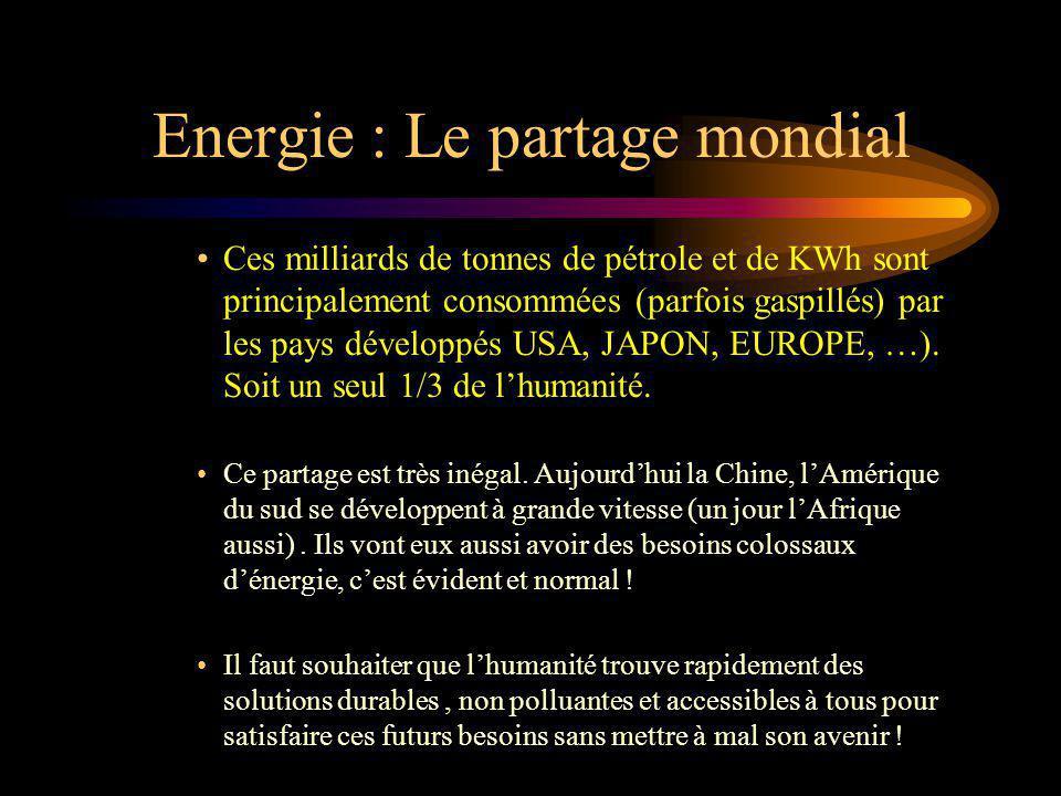 Energie : Le partage mondial Ces milliards de tonnes de pétrole et de KWh sont principalement consommées (parfois gaspillés) par les pays développés U