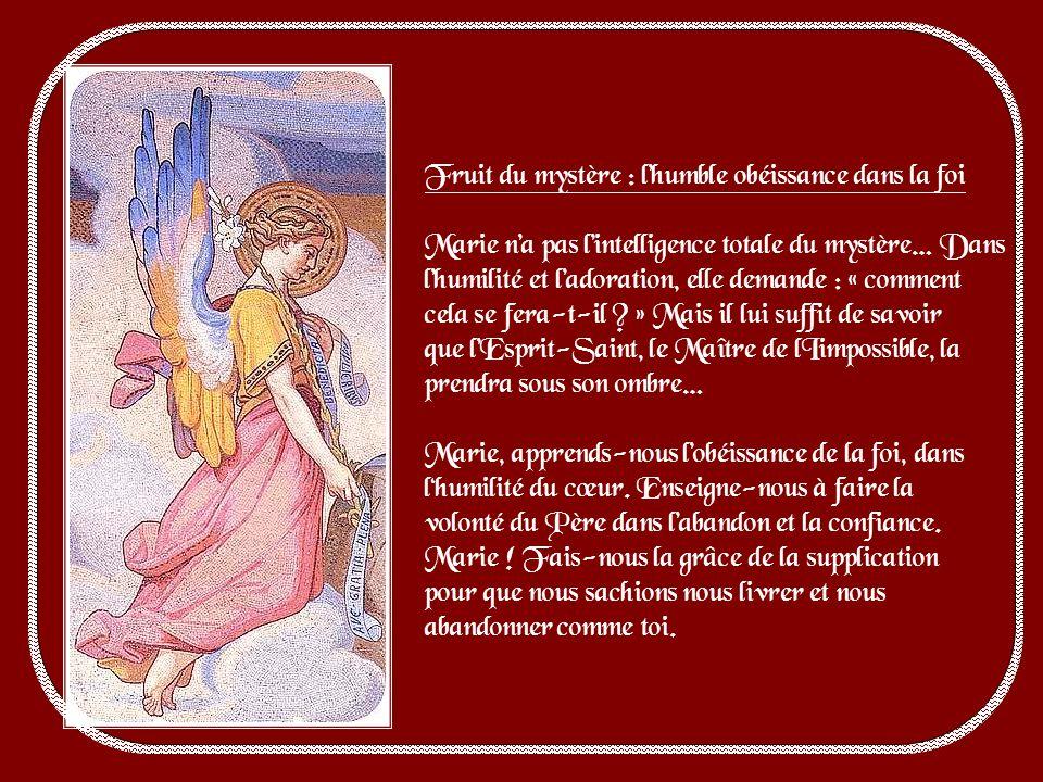 Le Père envoie à Marie son ange, Gabriel, pour laviser des vues extraordinaires quil a sur elles. Et lange commence par saluer Marie en reconnaissant