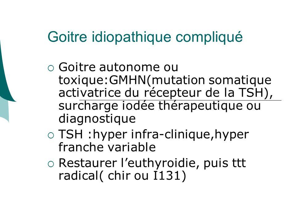 Goitre idiopathique compliqué Goitre autonome ou toxique:GMHN(mutation somatique activatrice du récepteur de la TSH), surcharge iodée thérapeutique ou diagnostique TSH :hyper infra-clinique,hyper franche variable Restaurer leuthyroidie, puis ttt radical( chir ou I131)
