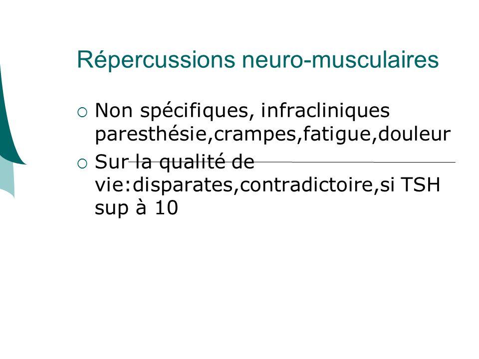 Répercussions neuro-musculaires Non spécifiques, infracliniques paresthésie,crampes,fatigue,douleur Sur la qualité de vie:disparates,contradictoire,si TSH sup à 10
