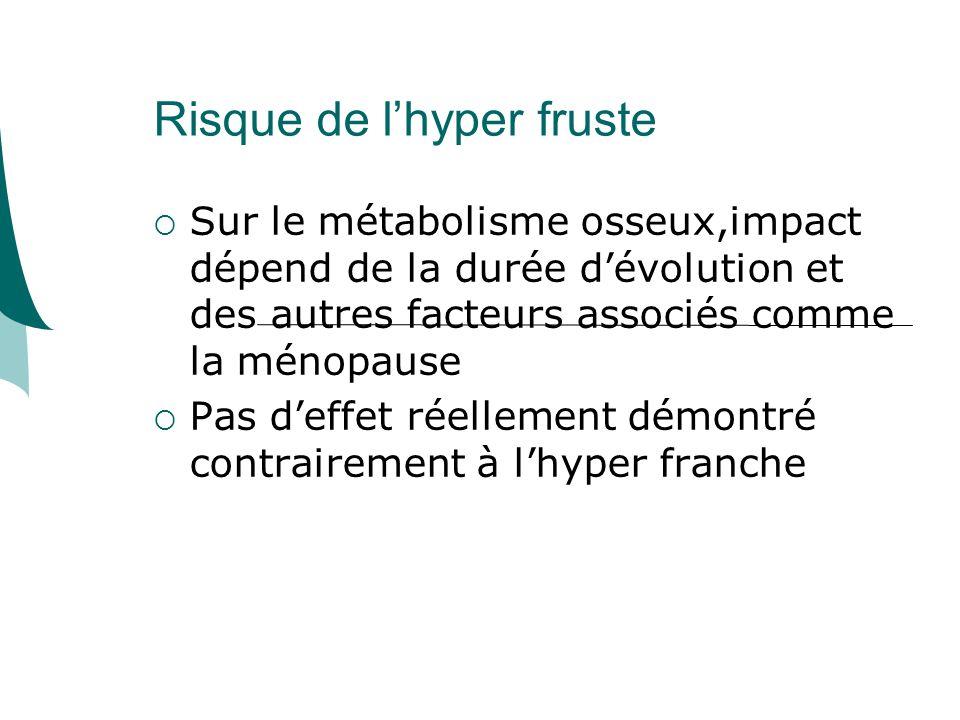 Risque de lhyper fruste Sur le métabolisme osseux,impact dépend de la durée dévolution et des autres facteurs associés comme la ménopause Pas deffet réellement démontré contrairement à lhyper franche