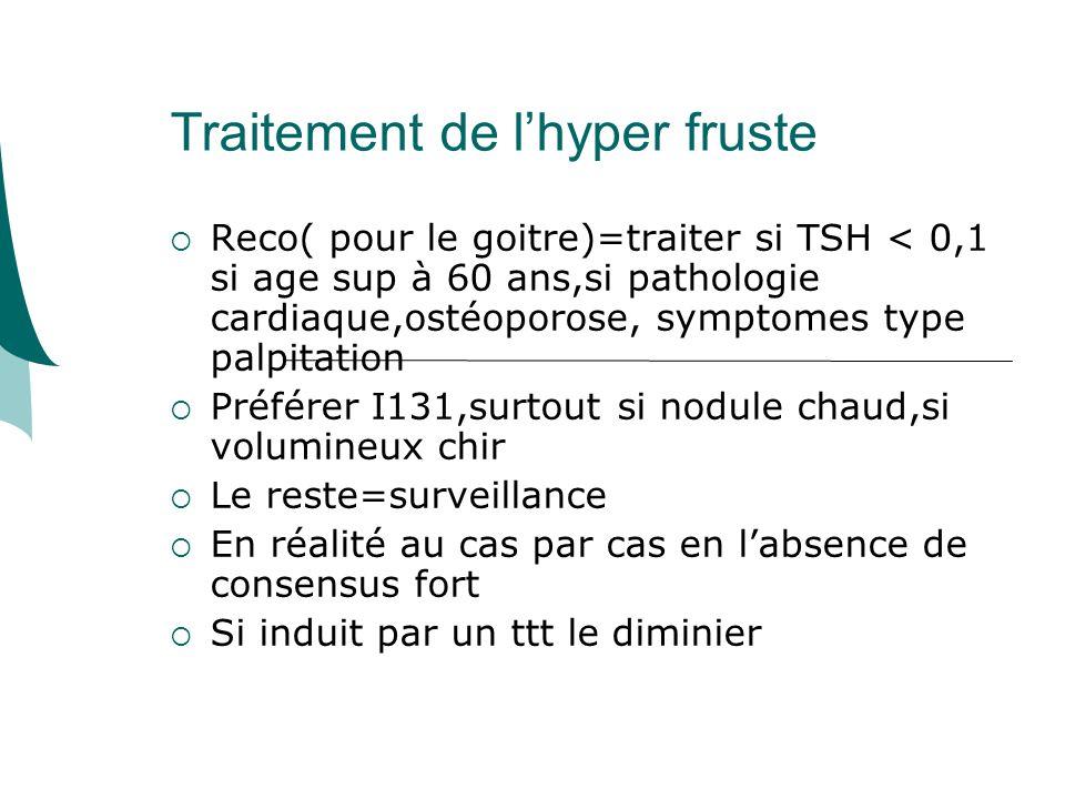 Traitement de lhyper fruste Reco( pour le goitre)=traiter si TSH < 0,1 si age sup à 60 ans,si pathologie cardiaque,ostéoporose, symptomes type palpitation Préférer I131,surtout si nodule chaud,si volumineux chir Le reste=surveillance En réalité au cas par cas en labsence de consensus fort Si induit par un ttt le diminier