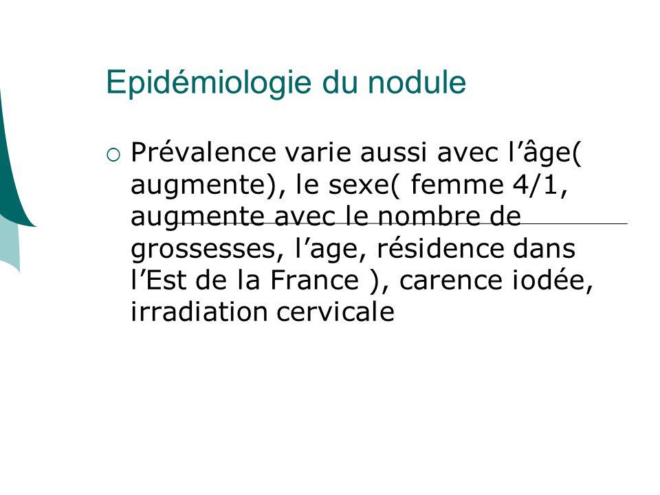 Epidémiologie du nodule Prévalence varie aussi avec lâge( augmente), le sexe( femme 4/1, augmente avec le nombre de grossesses, lage, résidence dans lEst de la France ), carence iodée, irradiation cervicale