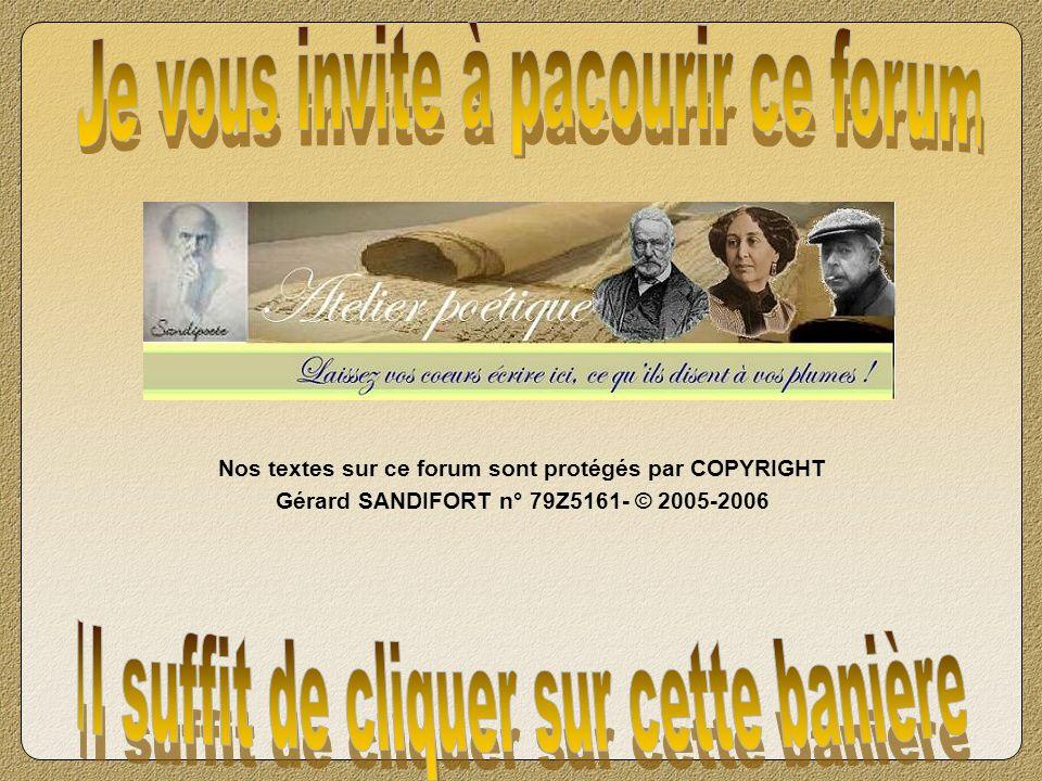 Nos textes sur ce forum sont protégés par COPYRIGHT Gérard SANDIFORT n° 79Z5161- © 2005-2006