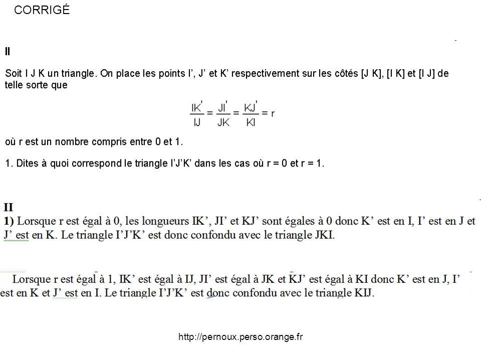 http://pernoux.perso.orange.fr Décomposition de 2431 en un produit de facteurs premiers : 2431 = 11x13×17 D où toutes les solutions possibles : Une des sommes vaut 1, une autre vaut 11 et la dernière vaut 13 x 17 soit 221.