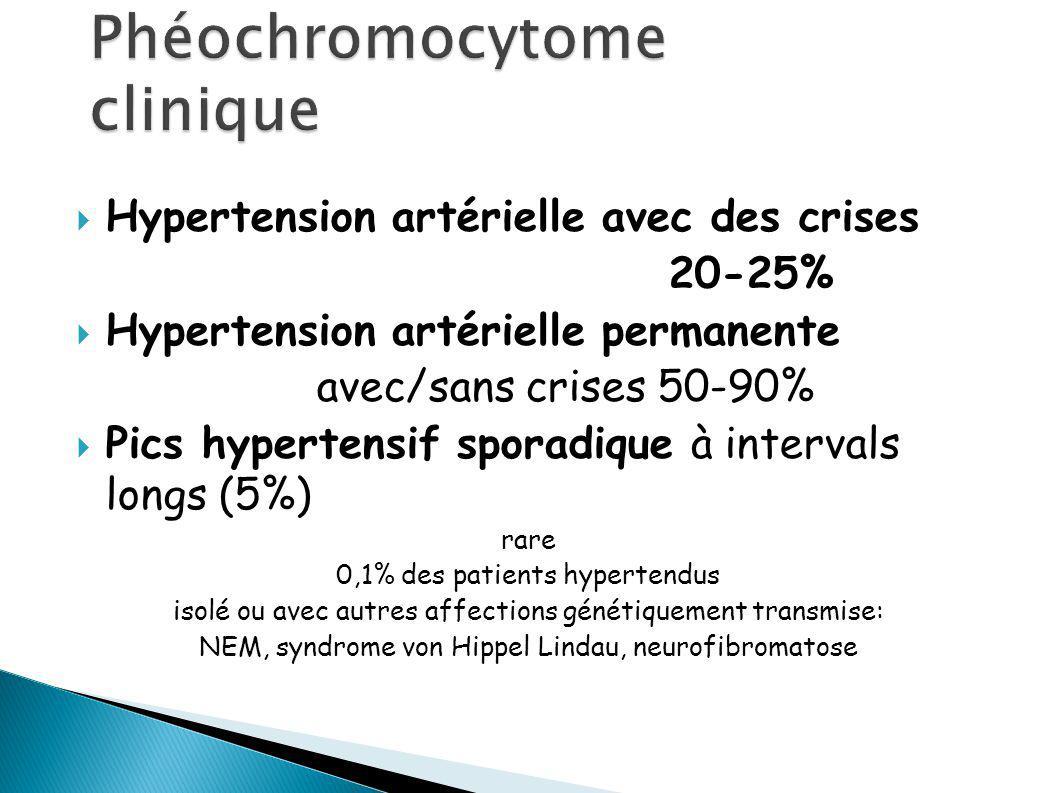 Hypertension artérielle avec des crises 20-25% Hypertension artérielle permanente avec/sans crises 50-90% Pics hypertensif sporadique à intervals longs (5%) rare 0,1% des patients hypertendus isolé ou avec autres affections génétiquement transmise: NEM, syndrome von Hippel Lindau, neurofibromatose