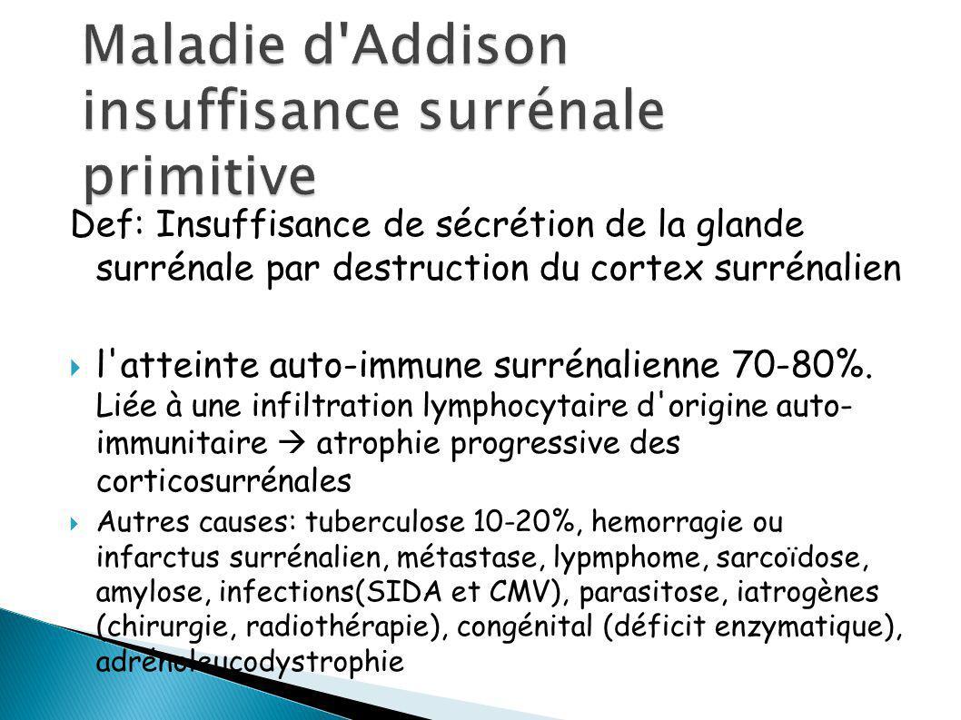 Def: Insuffisance de sécrétion de la glande surrénale par destruction du cortex surrénalien l atteinte auto-immune surrénalienne 70-80%.