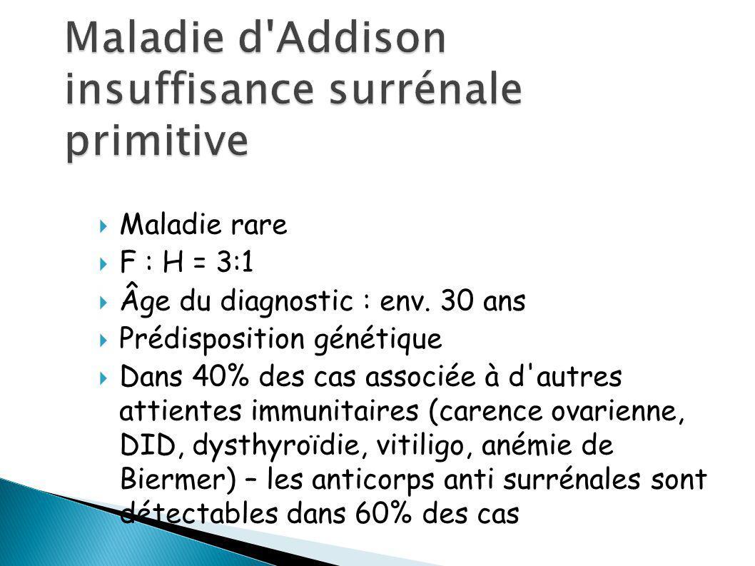 Maladie rare F : H = 3:1 Âge du diagnostic : env.