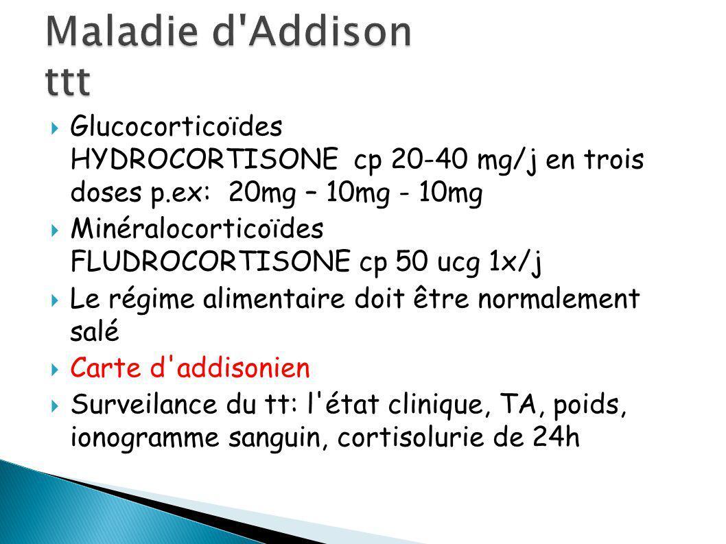 Glucocorticoïdes HYDROCORTISONE cp 20-40 mg/j en trois doses p.ex: 20mg – 10mg - 10mg Minéralocorticoïdes FLUDROCORTISONE cp 50 ucg 1x/j Le régime alimentaire doit être normalement salé Carte d addisonien Surveilance du tt: l état clinique, TA, poids, ionogramme sanguin, cortisolurie de 24h
