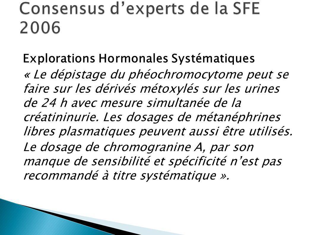 Explorations Hormonales Systématiques « Le dépistage du phéochromocytome peut se faire sur les dérivés métoxylés sur les urines de 24 h avec mesure simultanée de la créatininurie.