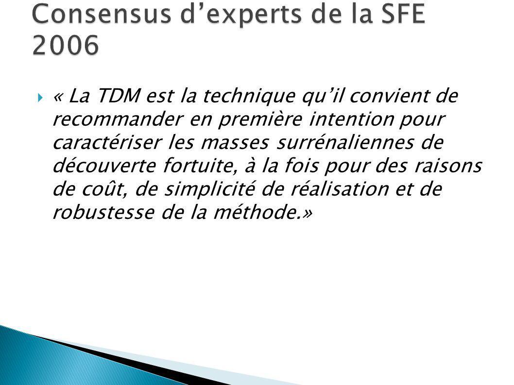« La TDM est la technique quil convient de recommander en première intention pour caractériser les masses surrénaliennes de découverte fortuite, à la fois pour des raisons de coût, de simplicité de réalisation et de robustesse de la méthode.»