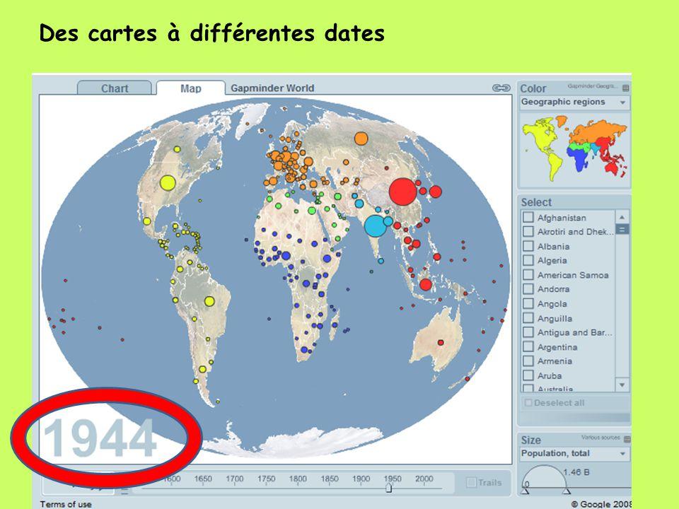 Des cartes à différentes dates