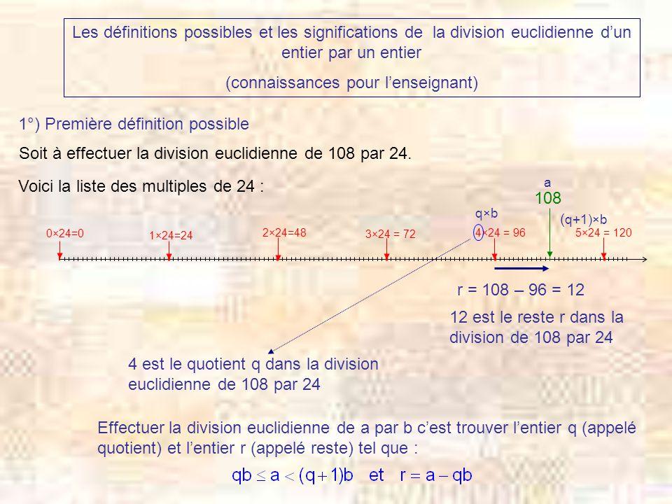 2°) Deuxième définition possible Soit à effectuer la division euclidienne de 108 par 24.