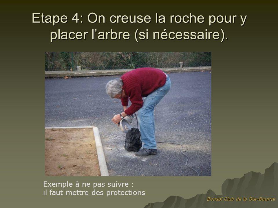 Bonsaï Club de la Ste-Baume Etape 5 : on fixe des fils à la roche pour attacher larbre, on le place avec le substrat collant à base de Keto, dAkadama et de sphaigne