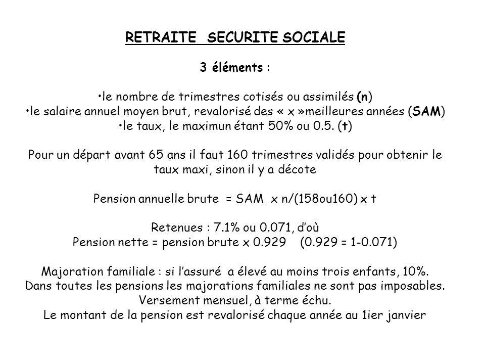 RETRAITE SECURITE SOCIALE 3 éléments : le nombre de trimestres cotisés ou assimilés (n) le salaire annuel moyen brut, revalorisé des « x »meilleures a