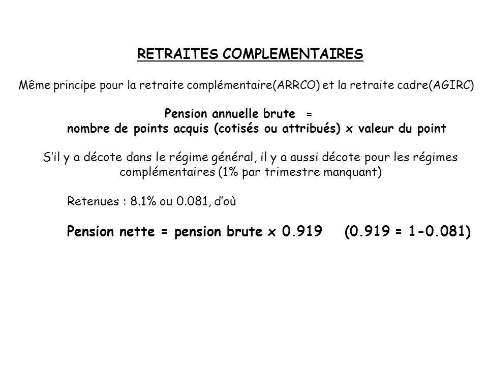 RETRAITES COMPLEMENTAIRES Même principe pour la retraite complémentaire(ARRCO) et la retraite cadre(AGIRC) Pension annuelle brute = nombre de points a