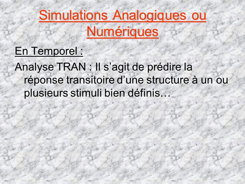 Simulations Analogiques ou Numériques En Temporel : Analyse TRAN : Il sagit de prédire la réponse transitoire dune structure à un ou plusieurs stimuli