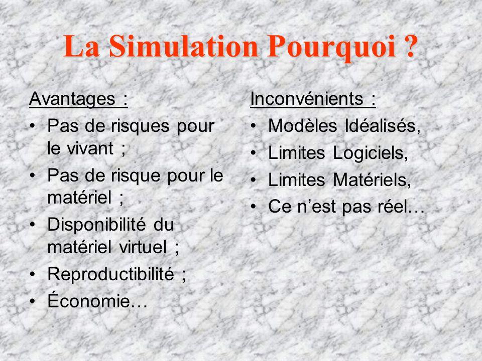 La Simulation Pourquoi ? Avantages : Pas de risques pour le vivant ; Pas de risque pour le matériel ; Disponibilité du matériel virtuel ; Reproductibi