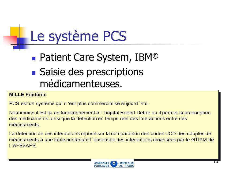 10 Le système PCS Patient Care System, IBM ® Saisie des prescriptions médicamenteuses.