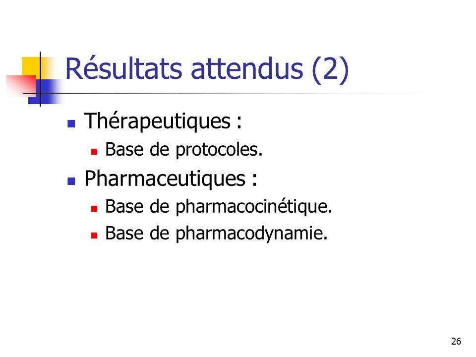 26 Résultats attendus (2) Thérapeutiques : Base de protocoles.