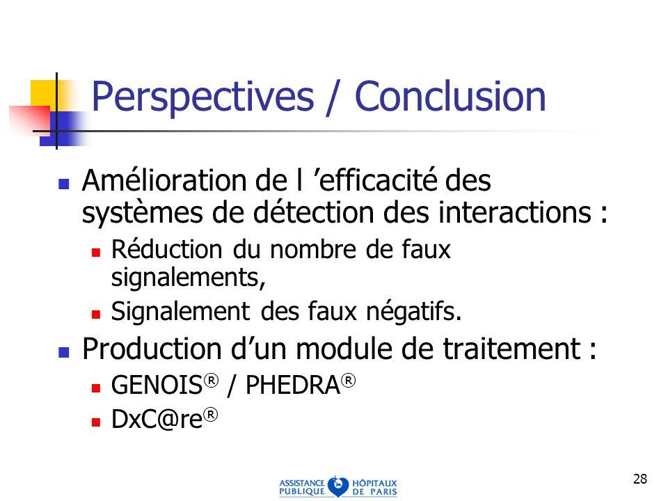 28 Perspectives / Conclusion Amélioration de l efficacité des systèmes de détection des interactions : Réduction du nombre de faux signalements, Signalement des faux négatifs.