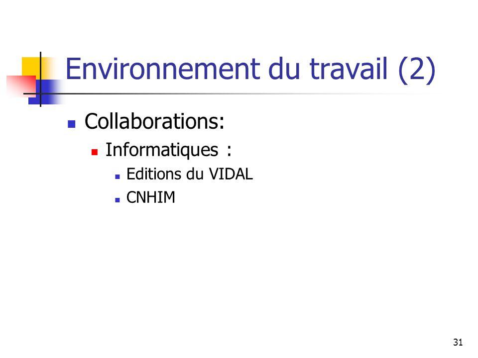 31 Environnement du travail (2) Collaborations: Informatiques : Editions du VIDAL CNHIM