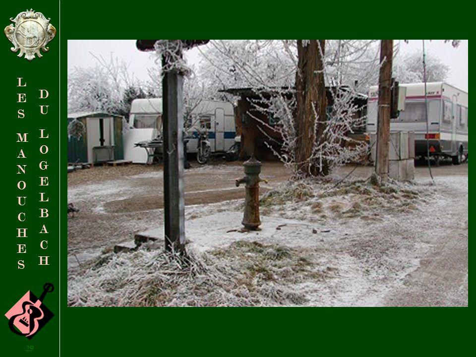 28 LESMANOUCHESLESMANOUCHES DULOGELBACHDULOGELBACH 24 décembre 2007, Clémence cherche de leau pour préparer le réveillon de Noël… … mais lunique point deau est gelé, et elle sen retourne chez elle, avec le bidon vide…